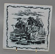 AN 18TH CENTURY LIVERPOOL TILE, printed by Sadler, with an o