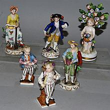 SIX VARIOUS CONTINENTAL PORCELAIN FIGURES.