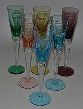 A HARLEQUIN SET OF SIX COCKTAIL GLASSES.
