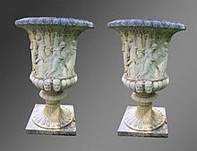 A VERY GOOD PAIR OF RECONSTITUTED STONE URNS OF CAMPAGNA FOR