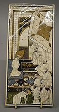 AN INDIAN TEMPLE INTERIOR WITH FIGURES painted in ivory.  8i