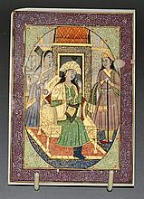 AN INDIAN INTERIOR SCENE WITH THREE FIGURES painted in ivory