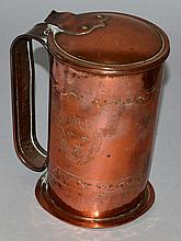 YE LIONS HEAD TAVERN, copper lidded jug.