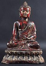A CHINESE QING DYNASTY POLYCHROMED BRONZE FIGURE