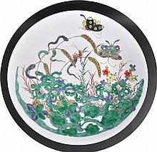 A 19TH CENTURY CHINESE FAMILLE VERTE CIRCULAR