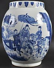 A CHINESE BLUE AND WHITE TRANSITIONAL STYLE VASE