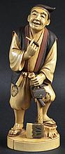 AN EARLY 20TH CENTURY JAPANESE MEIJI PERIOD IVORY