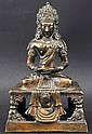 A FINE 18TH CENTURY CHINESE GILT BRONZE FIGURE OF