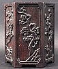 A 19TH CENTURY CHINESE CARVED WOOD HEXAGONAL BRUSH