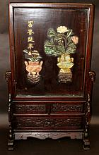 AN EARLY 20TH CENTURY CHINESE HARDSTONE AND WOOD SCREEN