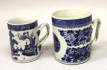 TWO 18TH/19TH CENTURY CHINESE BLUE & WHITE PORCELAIN TANKARDS