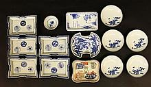 A GROUP OF FIVE 19TH/20TH CENTURY JAPANESE BLUE & WHITE PORCELAIN SHAPED DISHES