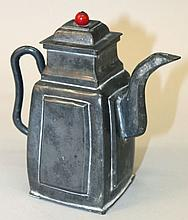 AN EARLY 20TH CENTURY CHINESE PEWTER TEAPOT & COVER