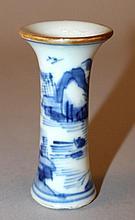 A MINIATURE CHINESE KANGXI PERIOD BLUE & WHITE PORCELAIN BEAKER VASE
