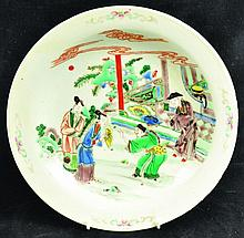 A 19TH CENTURY CHINESE FAMILLE VERTE PORCELAIN DISH