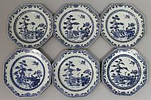A SET OF SIX 18TH CENTURY CHINESE QIANLONG PERIOD BLUE & WHITE OCTAGONAL PORCELAIN PLATES
