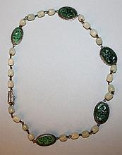 A GOOD QUALITY CHINESE JADE & SILVER-METAL NECKLACE