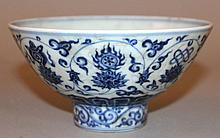 A CHINESE MING-STYLE BLUE & WHITE PORCELAIN BOWL