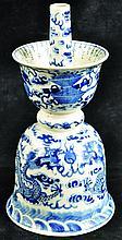 A 19TH CENTURY CHINESE BLUE & WHITE PORCELAIN DRAGON JOSS STICK HOLDER