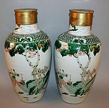 A LARGE PAIR OF 19TH CENTURY CHINESE FAMILLE VERTE PORCELAIN VASES