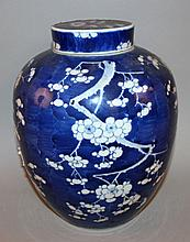 A LARGE 19TH CENTURY CHINESE BLUE & WHITE PORCELAIN JAR & COVER