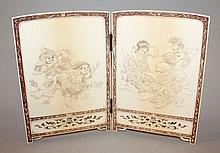A FINE QUALITY JAPANESE MEIJI PERIOD TWO FOLD IVORY TABLE SCREEN