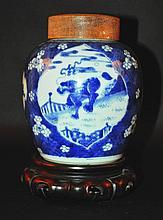 A GOOD CHINESE KANGXI PERIOD BLUE & WHITE PORCELAIN JAR