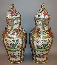 A LARGE PAIR OF 19TH CENTURY CHINESE CANTON PORCELAIN VASES & COVERS