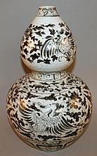 A LARGE CHINESE MING-STYLE BLUE & WHITE DOUBLE-GOURD PORCELAIN VASE