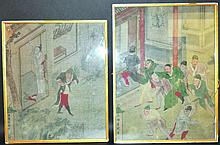 A PAIR OF 19TH CENTURY CHINESE FRAMED PAINTINGS ON SILK