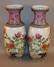 A LARGE MIRROR PAIR OF CHINESE FAMILLE ROSE PORCELAIN VASES