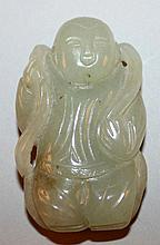 A 20TH CENTURY CHINESE CELADON JADE CARVING OF A STANDING BOY