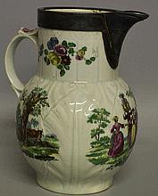 A WORCESTER CABBAGE LEAF JUG painted with rural sc
