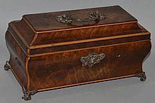 A GEORGE III MAHOGANY SHAPED JEWELLERY CASKET with