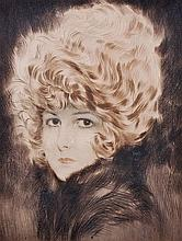Maurice Milliere (1871-1946) French. Head Study of a Girl, Drypoint in Colours, Signed in Pencil, Unframed, 11