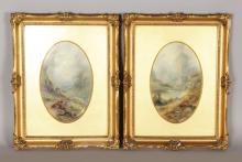 A SUPERB PAIR OF ROYAL WORCESTER OVAL UPRIGHT PORCELAIN PLAQUES, painted with highland cattle in a landscape by James Stinton, Loch Lomond and Vale of Glencoe. <br>9ins x 5.5ins, in gilt frames behind glass.