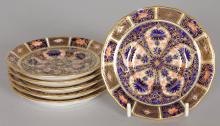 A SET OF SIX ROYAL CROWN DERBY JAPAN PATTERN SAUCERS.
