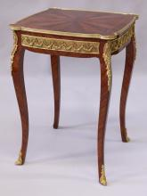 A LOUIS XVI STYLE KINGWOOD CENTRE TABLE, with decorative ormolu mounts, on cabriole legs. <br>1ft 8ins wide x 2ft 5ins high.
