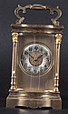 A FRENCH BRASS STRIKING CARRIAGE CLOCK. 5.5 inches