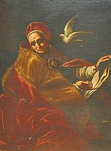 "17th Century Italian School. A Praying Saint, Oil on Canvas, in a Fine Giltwood Frame, 54.5"" x 39.5"""