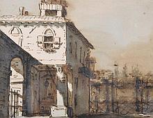 "19th Century Italian School. An Italian Fortification, Watercolour and Ink, Unframed, 6"" x 7.75"", an"