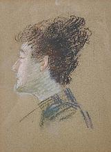 """Late 19th Century French School. Profile of a Lady Dressed in Black, Chalk, 8"""" x 6""""."""