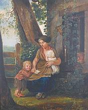 "Early 19th Century English School. Mother and Children by a Cottage Door, Oil on Board, 15"" x 12""."