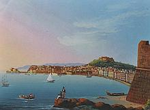 """19th Century Italian School. The Bay of Naples, with figures in the foreground, Gouache, 6"""" x 7.75"""","""