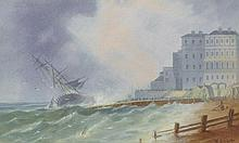 """W… A… Earp (fl.1880-1900) British. """"Wreck of the Atlantique at Brighton 1860"""", based on a print by R"""