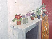 "20th Century English School. Still Life with Flower Pots on a Mantle, Oil on Board, Unframed, 23"" x"