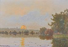 Henry Charles Delpy (1877-1957) French. A Sunset River Landscape, with a Figure in a Boat, Oil on Pa