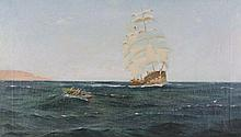 Sydney Phillips (19th – 20th Century) British. A South American Shipping Scene, in the style of Thom