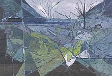 """John Lancaster (20th Century) British. """"Landscape"""", Mixed Media, Signed in Pencil, with Label on the"""