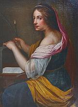 "18th Century Italian School. Study of a Saint, Oil on Canvas, Unframed, 35"" x 27""."
